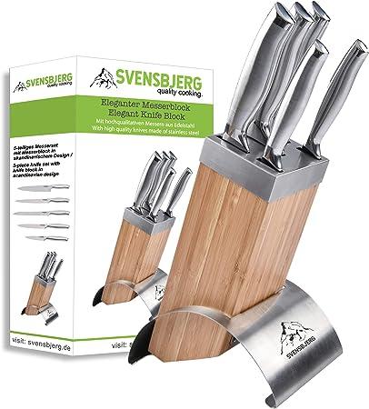 SVENSBJERG Taco Cuchillos de Cocina Juego de Cuchillos de Cocina Profesionales de Acero Inoxidable Cuchillos Agrio Cromado Brillante con Mango Ergonómico Tacoma Bloque de Madera en Bambú