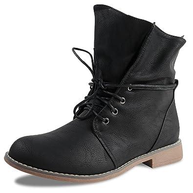 Damen Stiefeletten Boots Schnürboots Stiefel ST853 leicht gefüttert (37, Schwarz ST311)