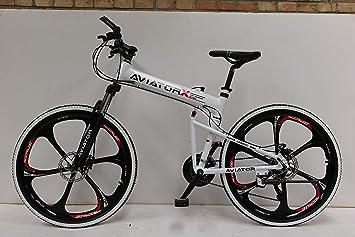 Aviator - Bicicleta de montaña Plegable de 66 cm, Freno de Disco y Rueda de