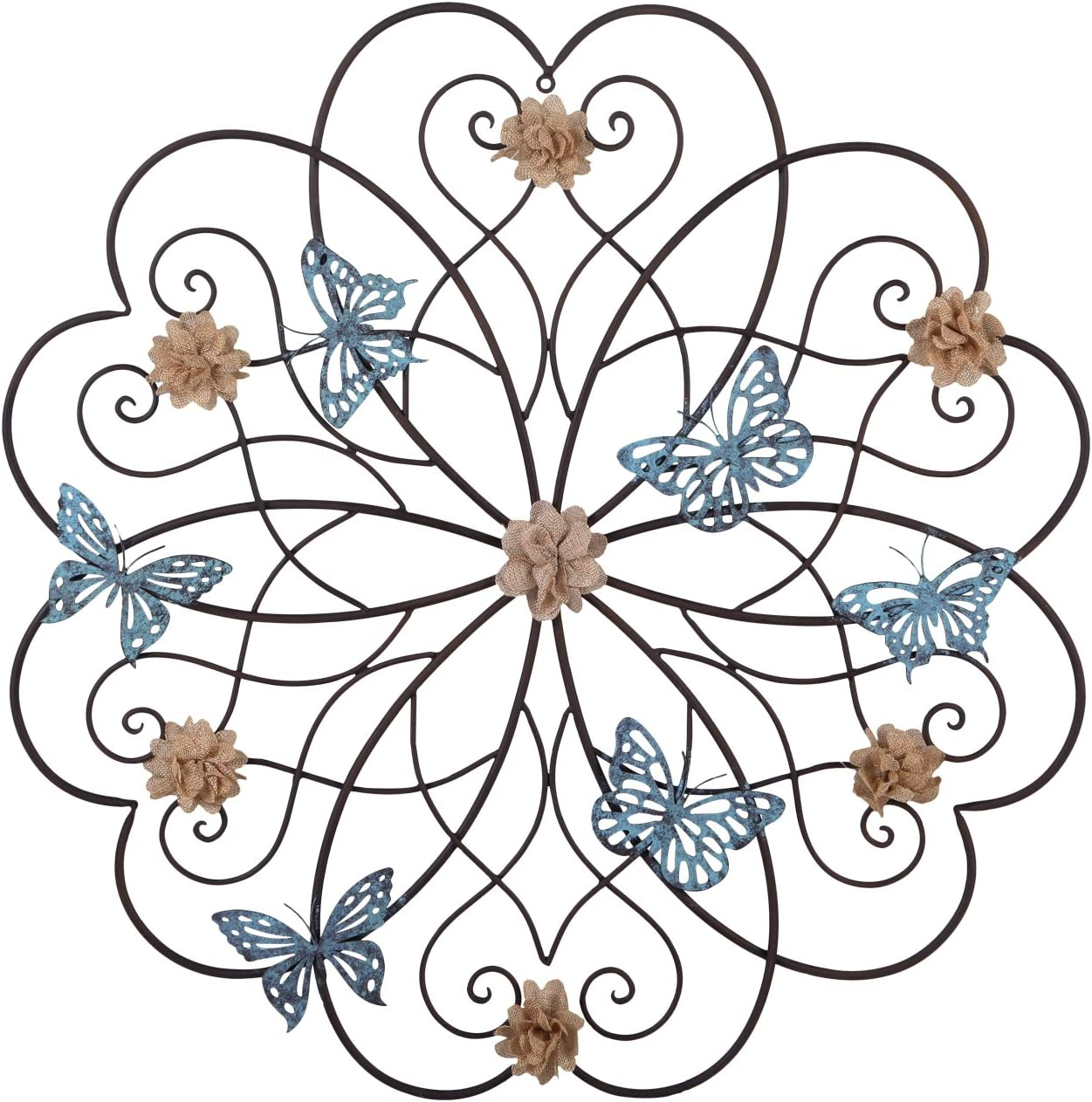 Asense Metal Wall Decor, Flower and Butterfly Design