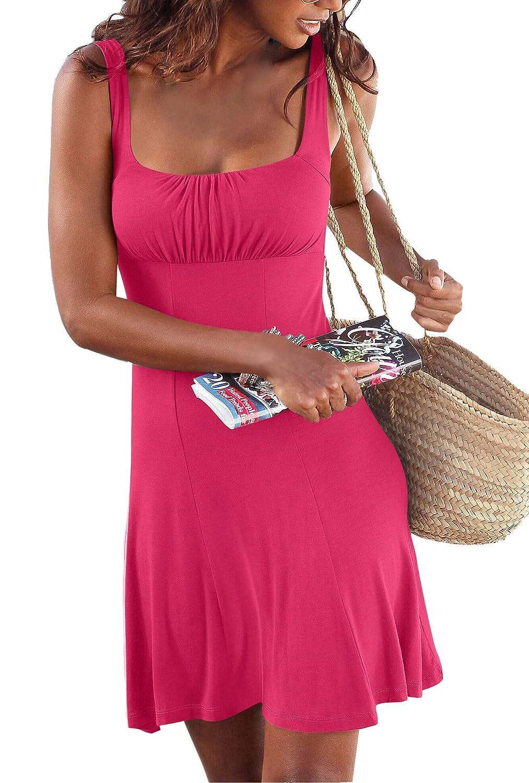Upopby Womens Sleeveless Sundress Summer Casual Tshirt Dresses Printed Beach Vest Dress Mini Tank Dresses