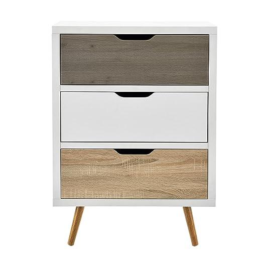 [en.casa]®] Cómoda Moderna con 3 cajones Diseño Retro (60x39x83cm) Blanco y Roble