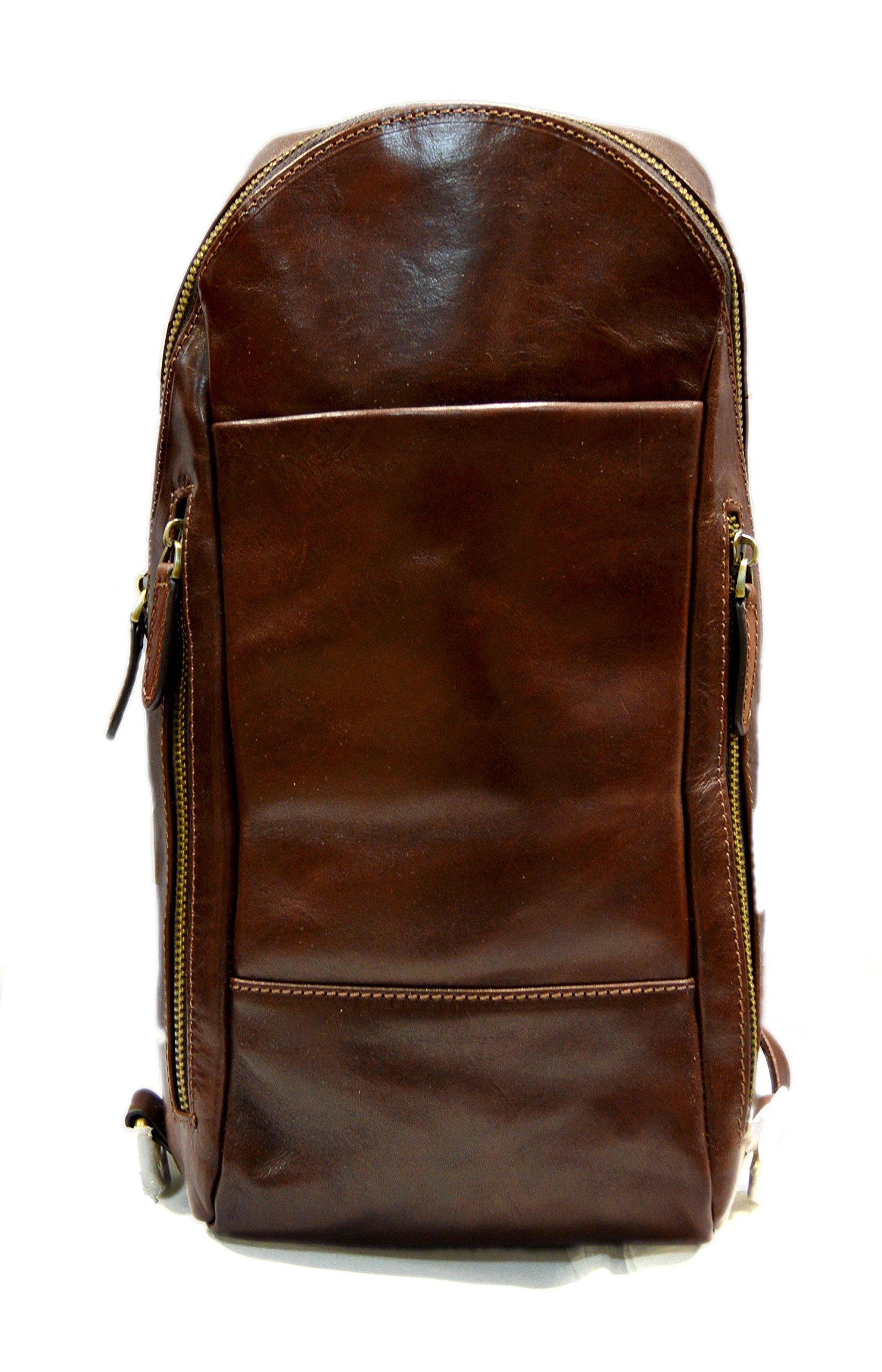 Mens waist leather shoulder bag hobo bag travel back sling satchel brown backpack leather backpack leather sling