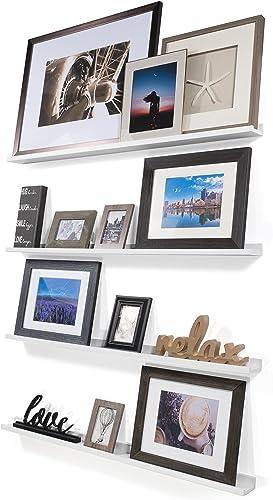 Wallniture Denver Set of 4 White 46 Inch Floating Shelf Bookshelves Display Bookcase Modern Wood Shelving Units for Kids Bedrooms Nurseries – Wall Mounted Storage Shelves