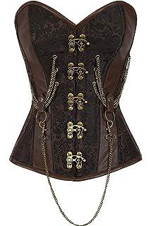 r-dessous Hochwertige Corsage Vintage Corsett schwarz Gothic Bustier Steampunk Top Mieder Schn/ür Korsett Shirt