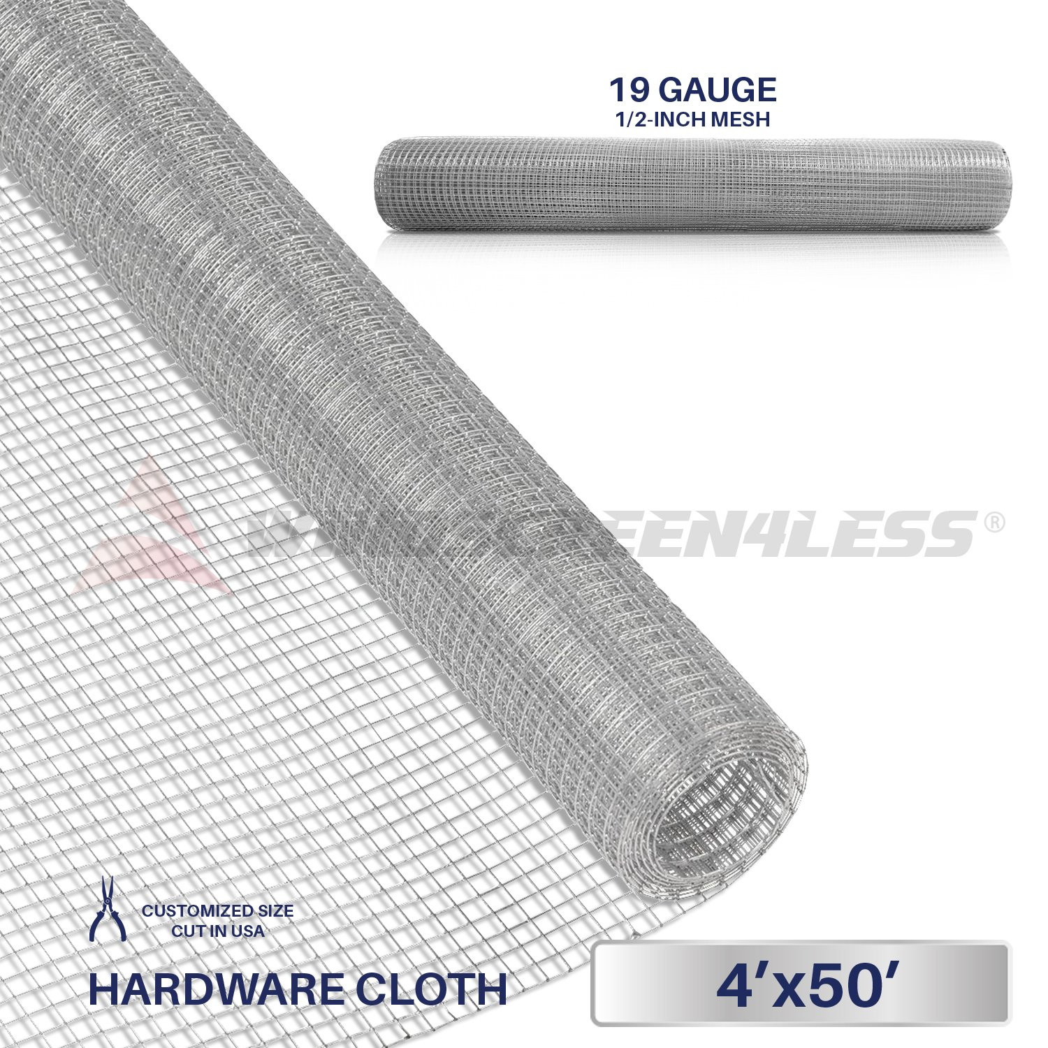 Windscreen4less 19 Gauge 1/2 Inch Square Galvanized Mesh Hardware Cloth 48-Inch Tall Custom Size Cut-to-length 4ft x 50ft