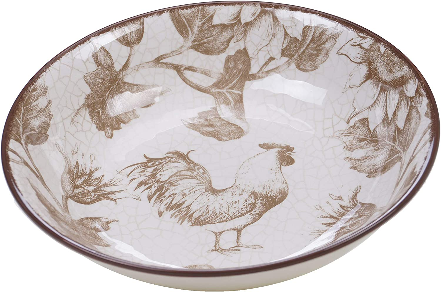 Multicolor One Size Certified International 23660 13 x 3 Gilded Rooster Serving//Pasta Bowl