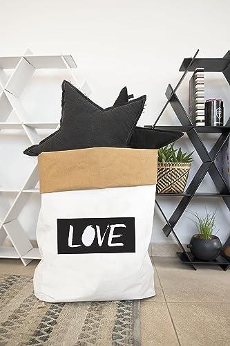 Washable Kraft Paper Bag, Storage Bags, Storage Bin, Laundry Hamper, Love  Decor