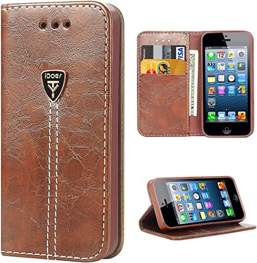 iDoer Étui portefeuille pour iPhone SE, iPhone 5, iPhone 5S, étui portefeuille élégant en cuir de qualité supérieure pour Apple iPhone SE, belle coque ...