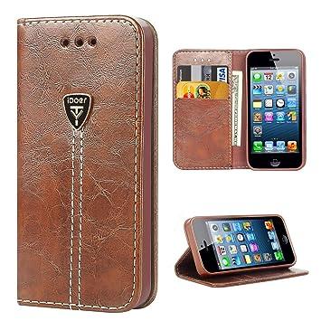 iDoer iPhone 5S Funda con tapa libro piel y TPU cartera cover Funda de cuero carcasa bumper protectores iPhone 5 estuches soporte flip Case para Apple ...