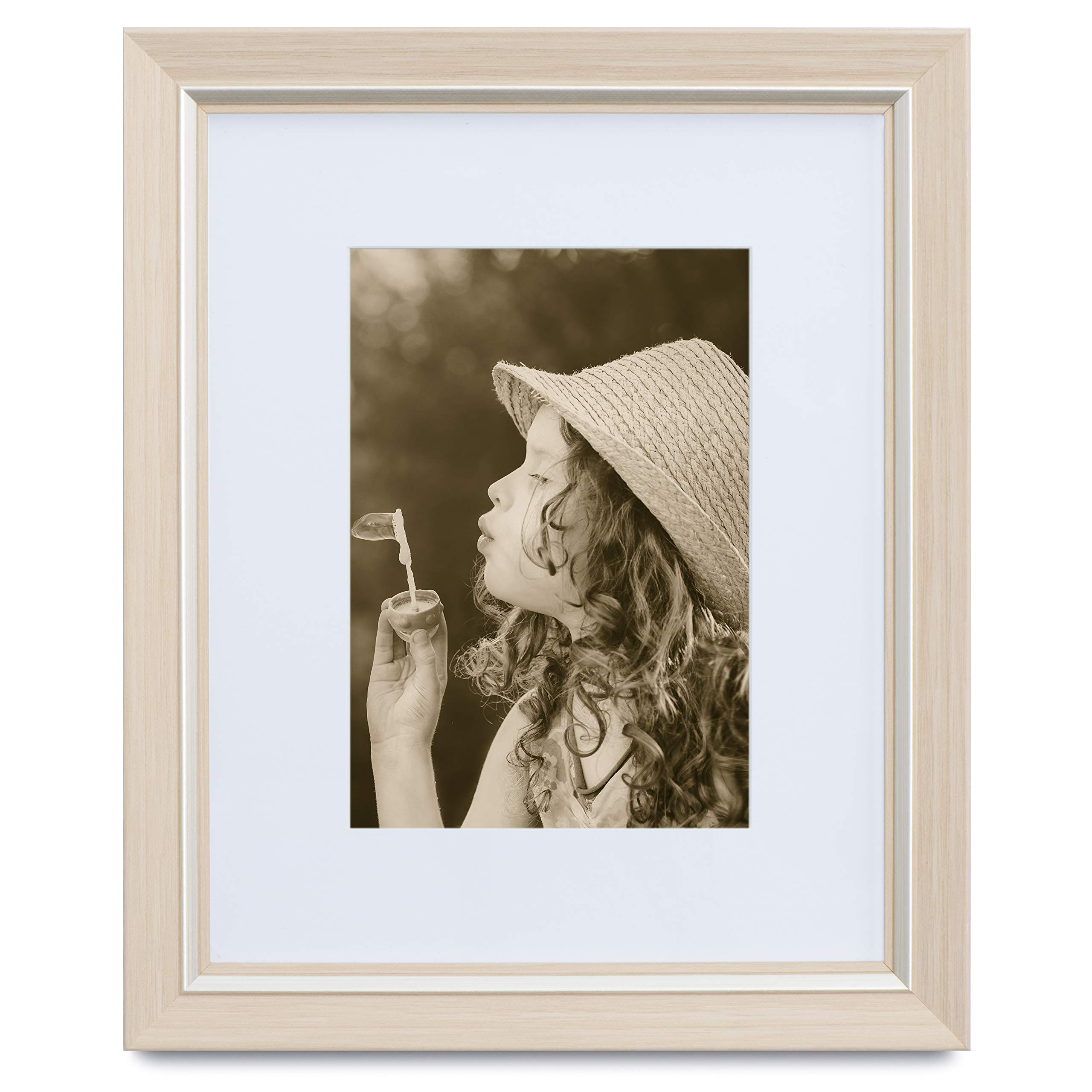 Eco-home 11x14 Picture Frame Off White - Made to Display Pictures 8x10 with Mat or 11x14 Without Mat, Sand Color, Hanging Kit Included.