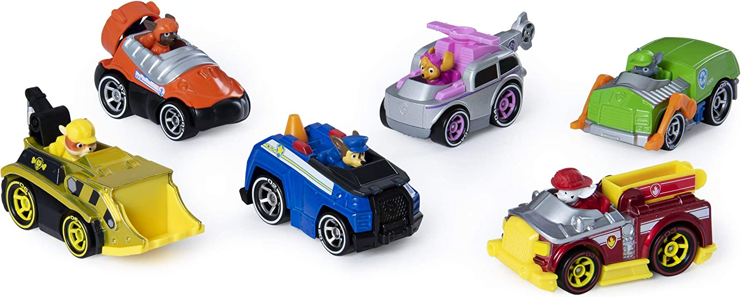 PAW PATROL, True Metal Classic Gift Pack of 6 Collectible Die-Cast Vehicles, 1:55 Scale Pack de 6 vehículos coleccionables, Escala, Multicolor, 0 (Spin Master 6053362)