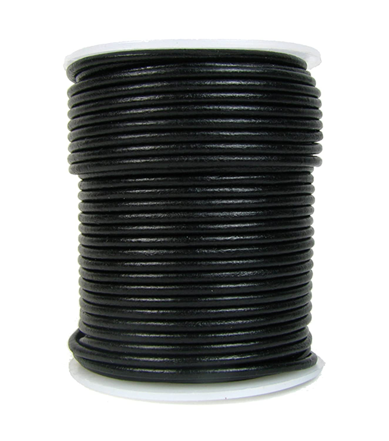 Round Leather Cord, 1mm Black, 25 Meter Spool (~28 Yards) for Beading, Jewelry, Crafts GenuineLeatherCord BCACS24399
