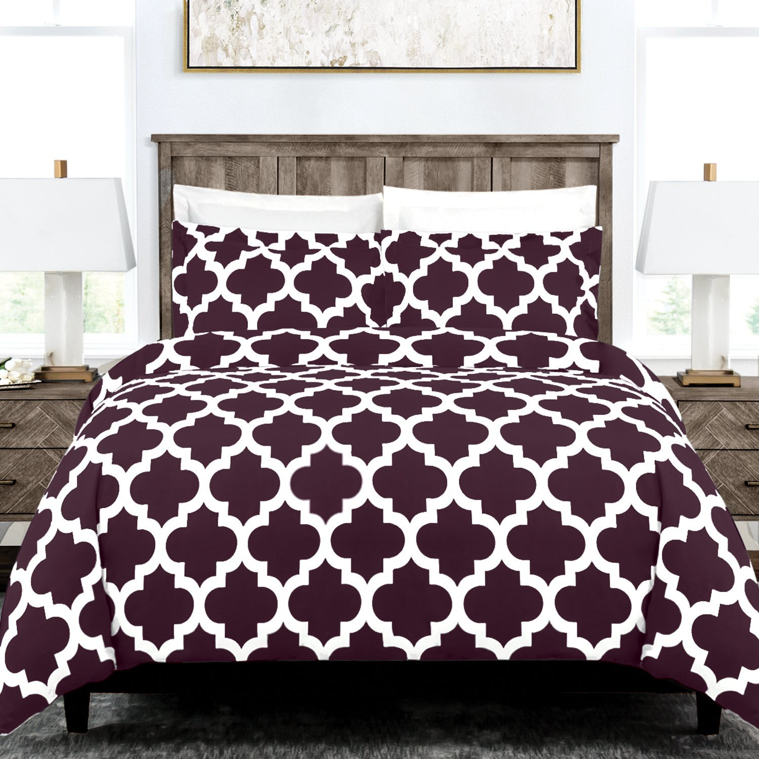 Egyptian Luxury Quatrefoil Duvet Cover Set - 3-Piece Ultra Soft Double Brushed Microfiber Printed Cover with Shams -King /Cal King - Purple/White