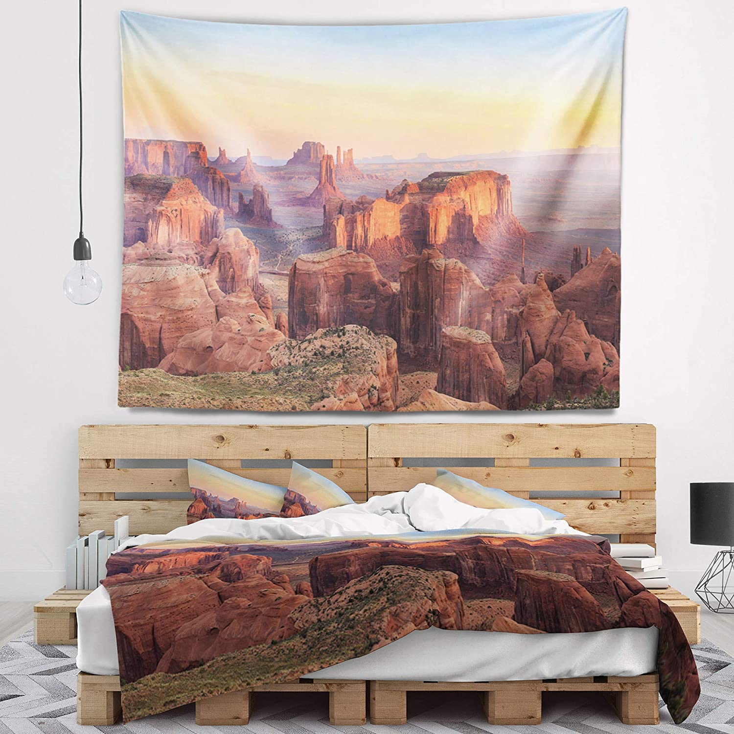 60 in Designart TAP15384-60-50  Hunts Mesa Panorama Landscape Blanket D/écor Art for Home and Office Wall Tapestry Large in x 50 in