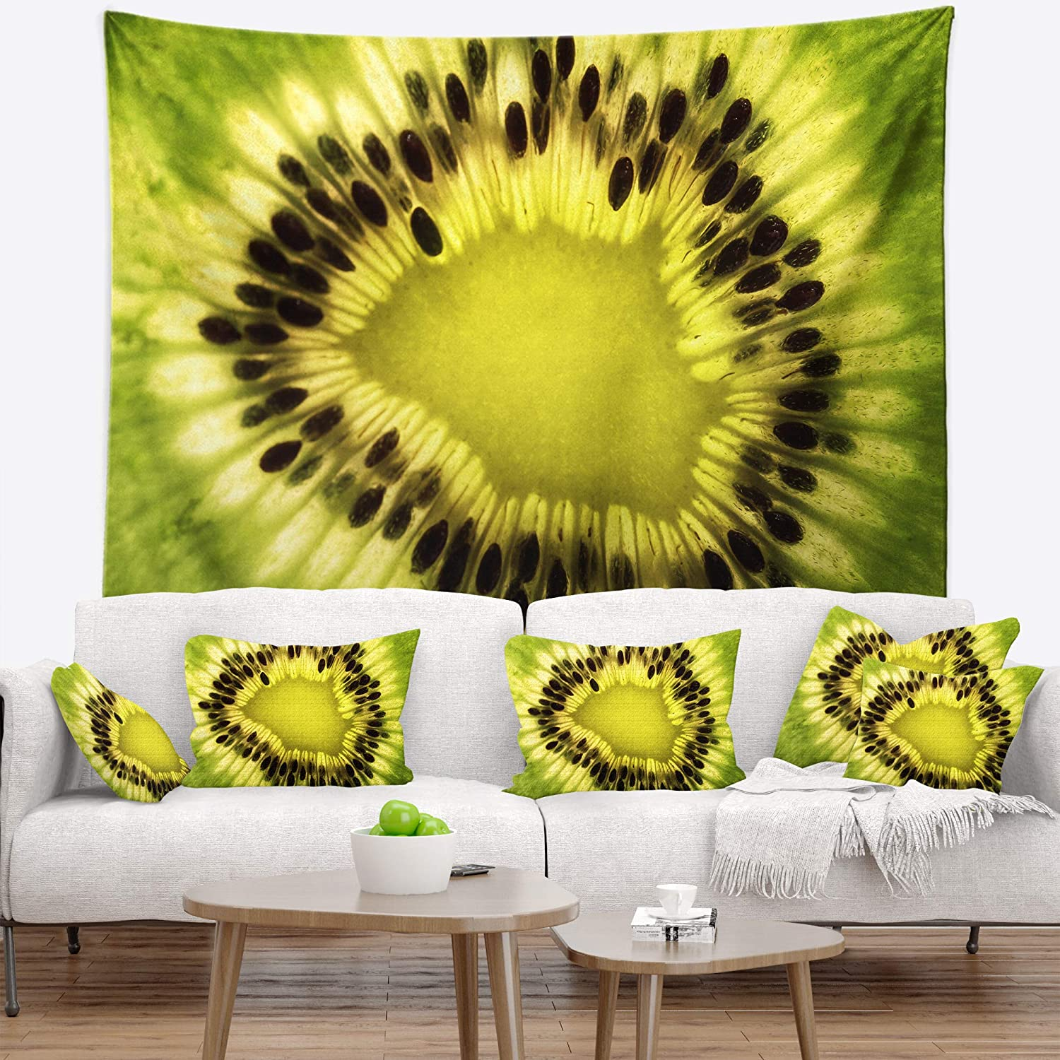 Created on Lightweight Polyester Fabric Designart TAP14691-80-68 Green Kiwi Seeds and Inside Pattern Contemporary Tapestry Blanket D/écor Wall Art for Home and Office x Large: 80 in x 68 in