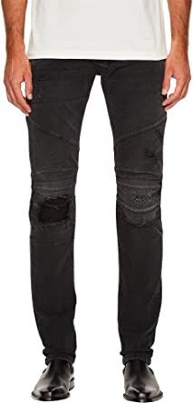 5b74520a Pierre Balmain Men's Distressed Panelled Jeans Black Denim Jeans at ...