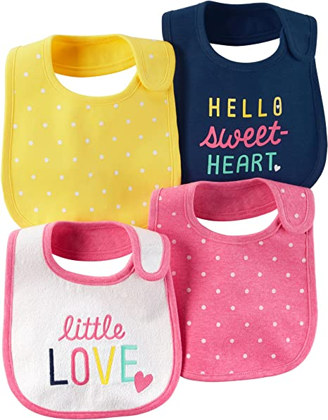 Amazon Com Carter S Baby Girls 4 Pack Multi Dots Bibs One Size