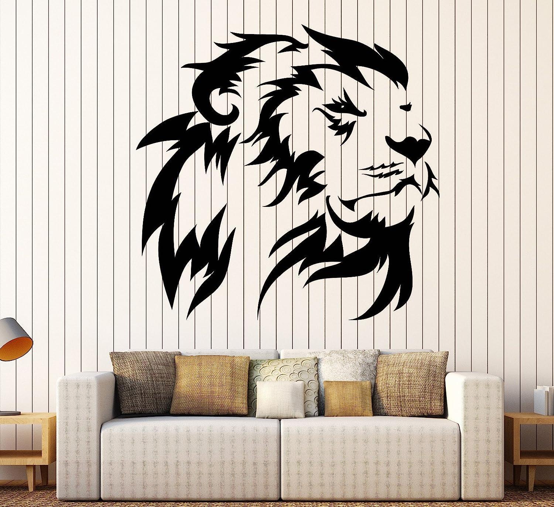 Vinyl Wall Decal Lion King Head African Animal Predator Stickers Large Decor (1396ig) Gold Metallic