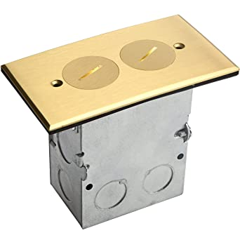 Arlington Industries Arlington Flb3520mb 1 Round Cut Box Kit Cover And Threaded Plugs For Installed Floors 1 Gang Metallic Brass 1 Pack Amazon Com