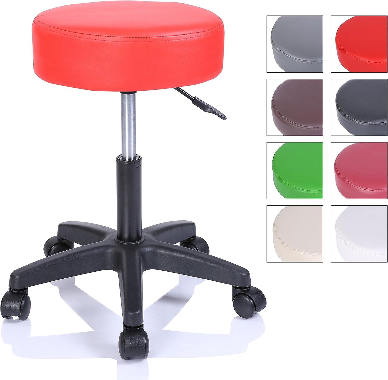 Taburete con ruedas taburete giratorio cosmético de trabajo consulta, regulable en altura, giratorio en 360°, con asiento acolchado de 10 cm y 8 variantes de colores (Rojo)