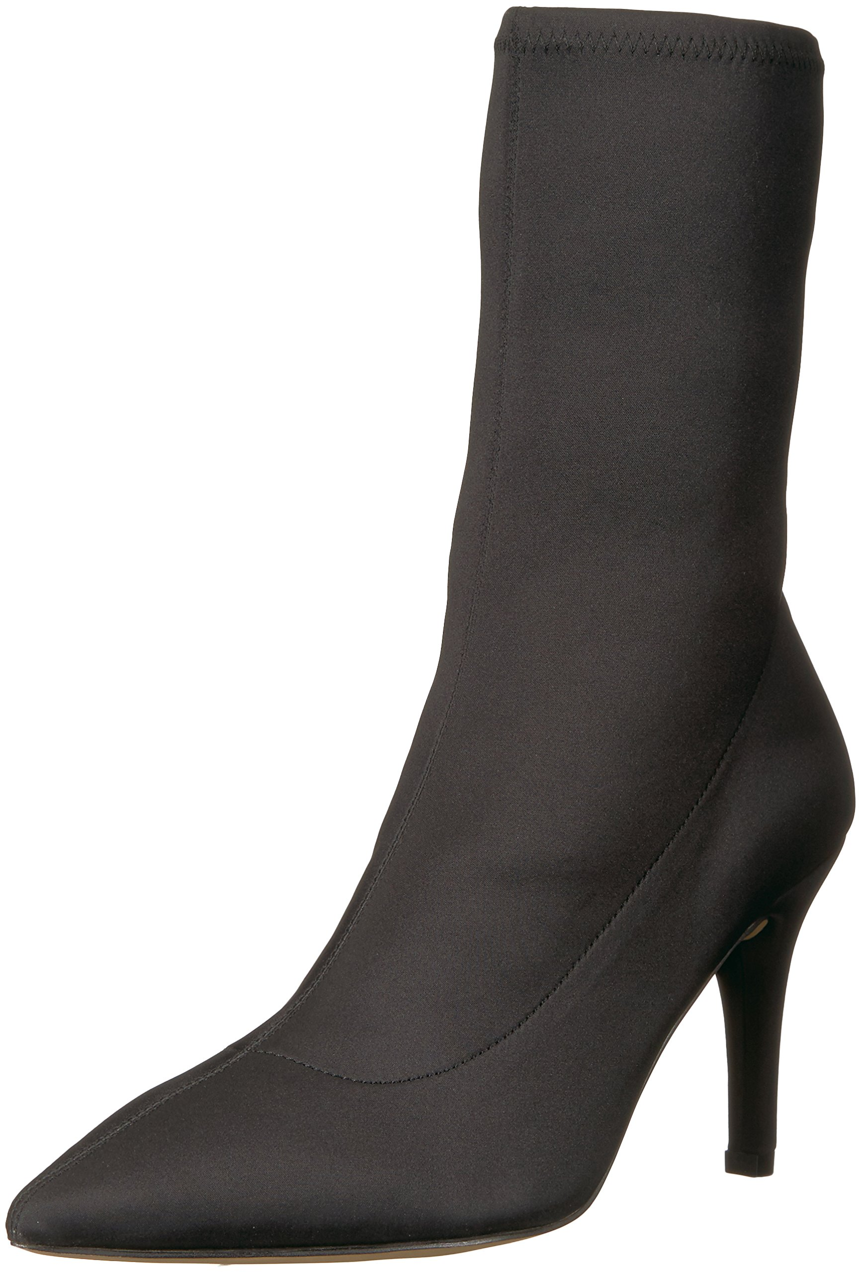 The Fix Women's Becca Pointed Toe Sock-Style Ankle Boot, Black Stretch Satin, 9 B US