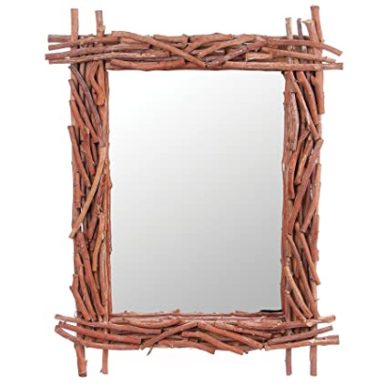 Amazon.com: Skalny Rectangle Twig Framed Mirror, 33 x 26.5 x 3 ...
