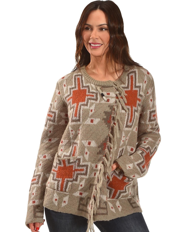 Miss Me Women's Mm Vintage Grey Aztec Print Sweater Taupe Medium