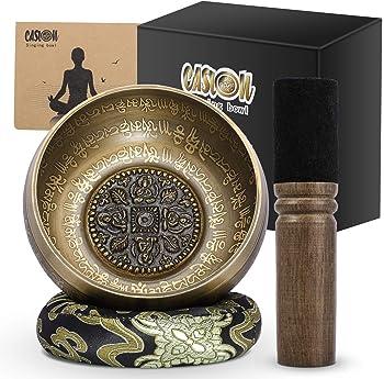 Welvan Antique Bronze Mantra Engravings Tibetan Singing Bowl Set