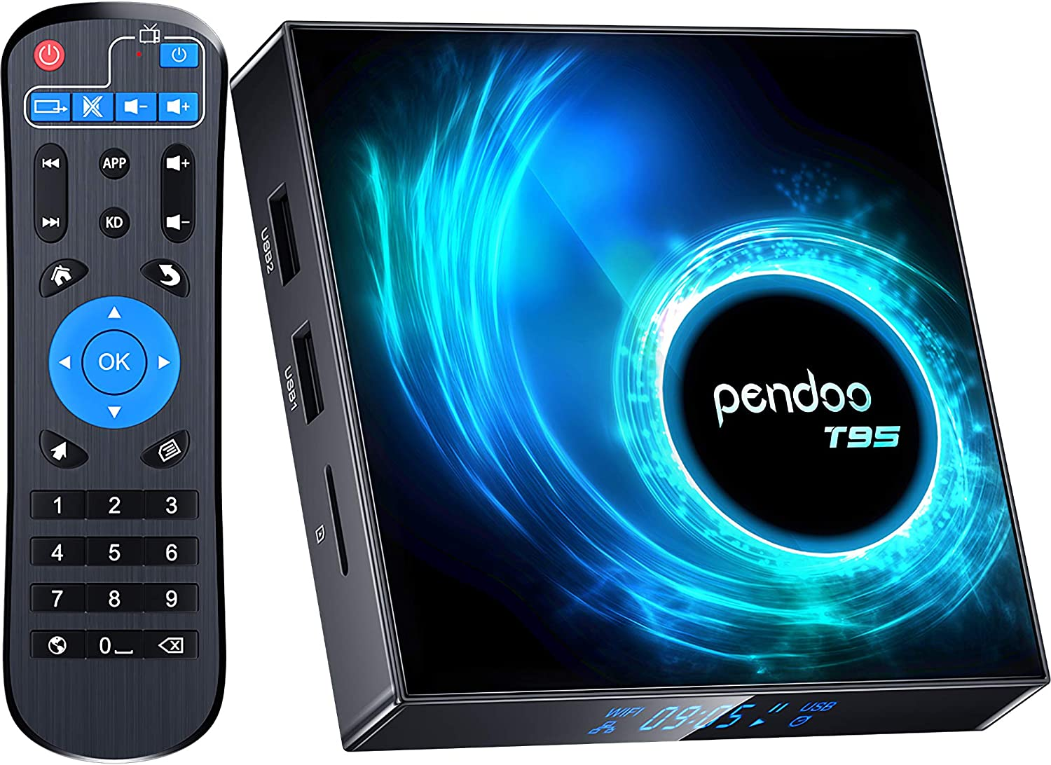 pendoo Android 10.0 TV Box, T95 Android TV Box 4GB RAM 32GB ROM Allwinner H616 Quad-core 64bit, Support 2.4G/5GHz Dual WiFi Bluetooth 6K/4K Ultra HD/ 3D/ H.265 Android Box