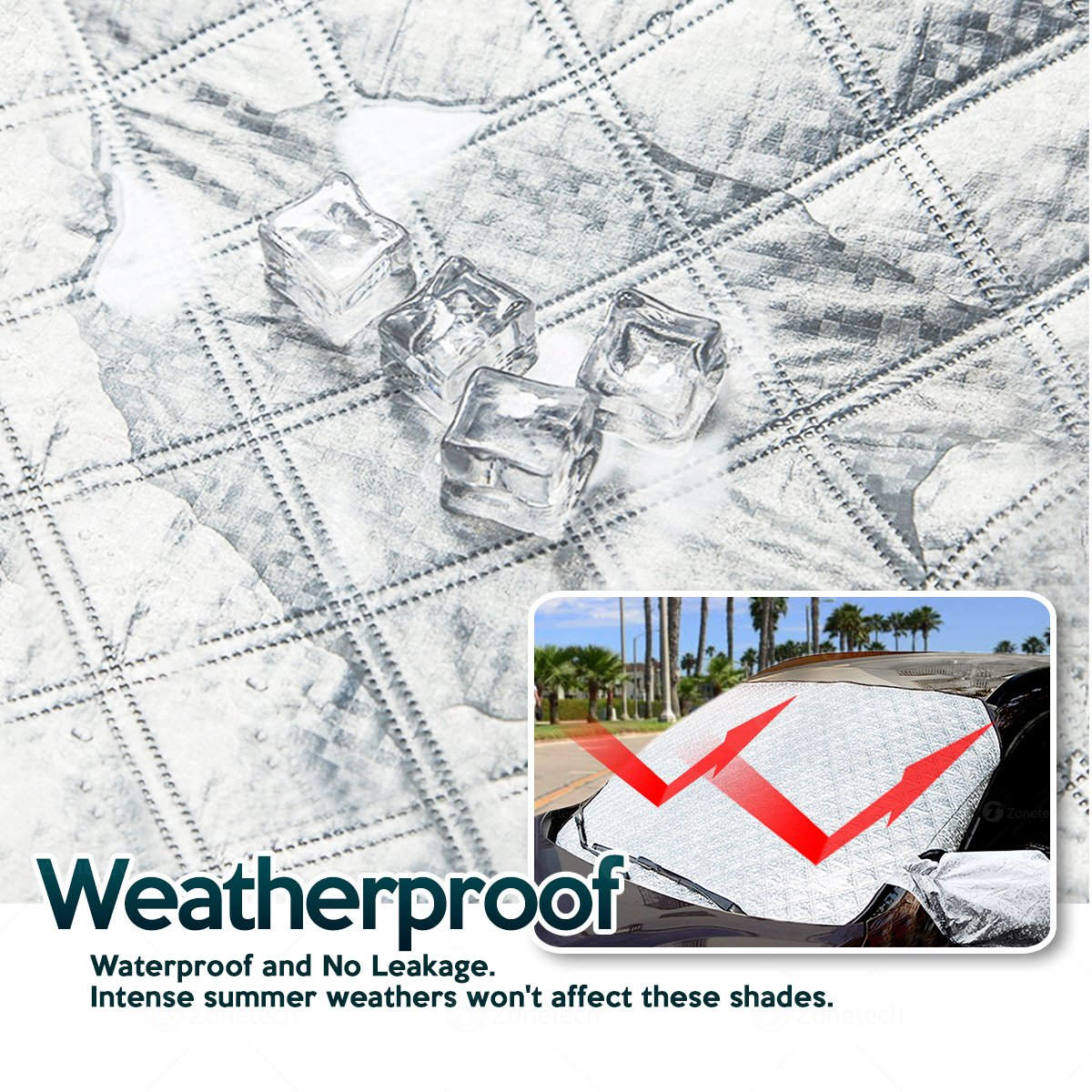 Zone Tech Car Windshield Cover Protector with Flaps and Side Mirror Cover All Weather Premium Quality Summer Winter Shield Protector