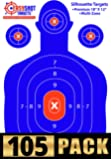 """EasyShot 105-PACK """"Super-Saver"""" Bundle - Premium Silhouette Shooting Targets - Maximum Visibility Bright Blue & Red - 18""""X12"""" - Easy To See Your Shots Land - 150 Free Repair Stickers."""