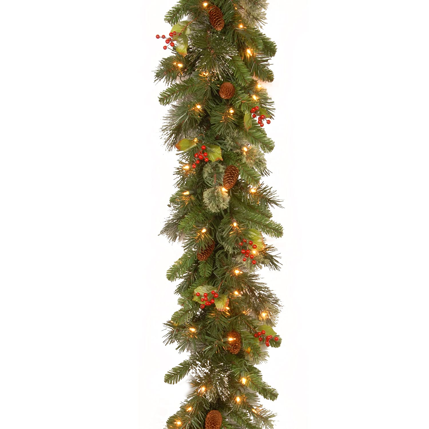 amazoncom national tree 9 foot by 12 inch wintry pine garland with red berries cones and snowflakes wp13009b1 home u0026 kitchen