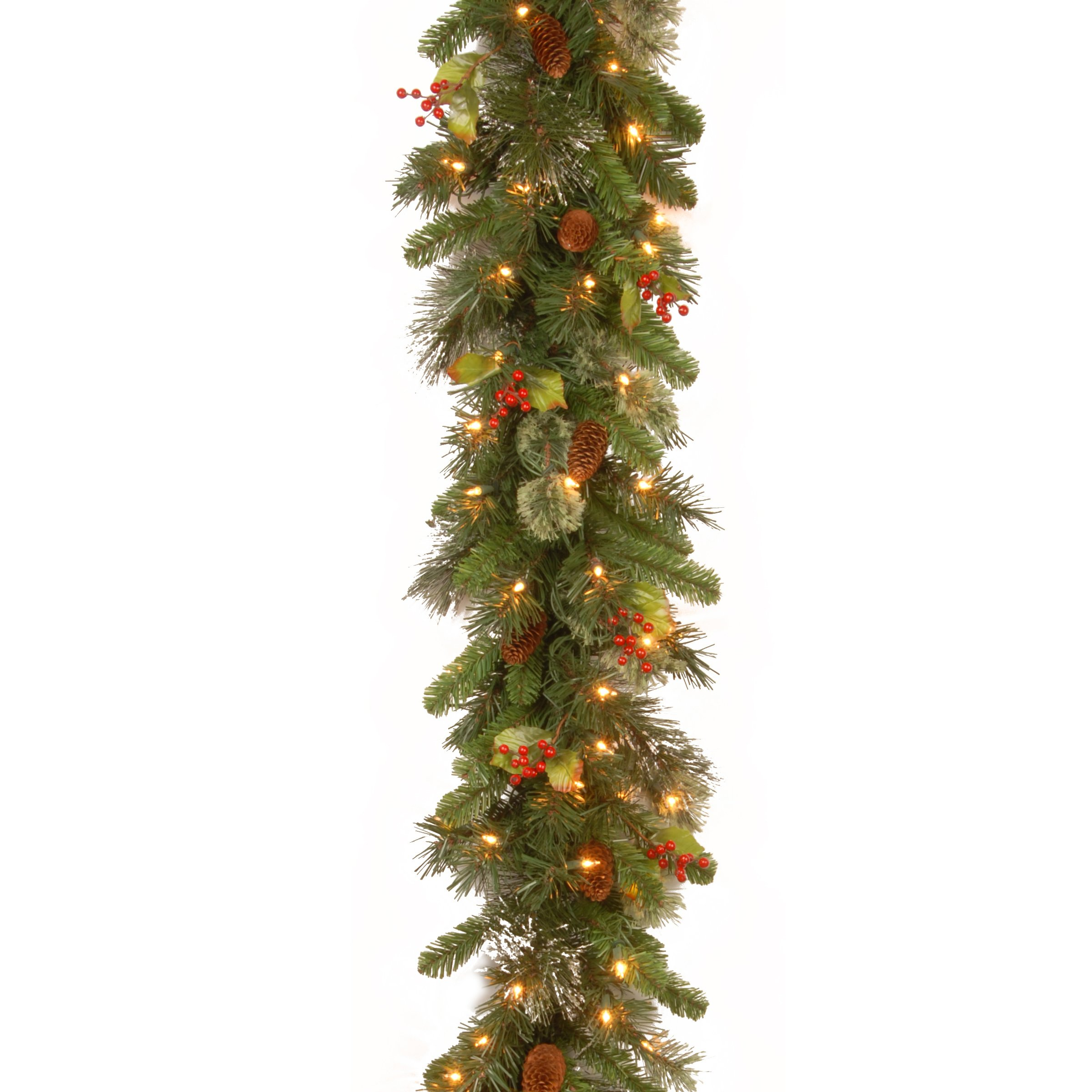 National Tree 9 Foot by 12 Inch Wintry Pine Garland with Red Berries, Cones and Snowflakes and 100 Clear Lights (WP1-300-9B-1)