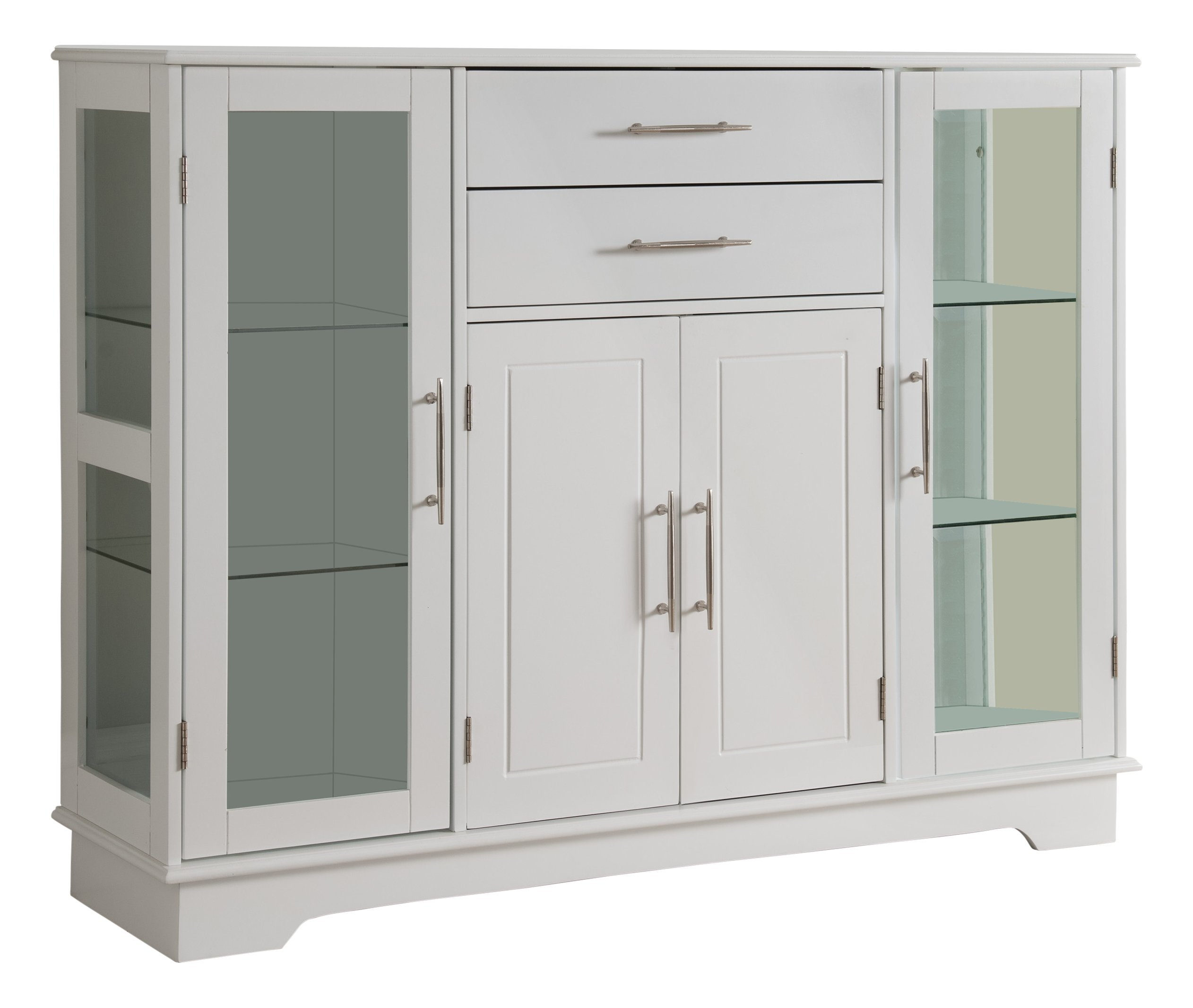 Kings Brand Kitchen Storage Cabinet Buffet With Glass Doors, White ...