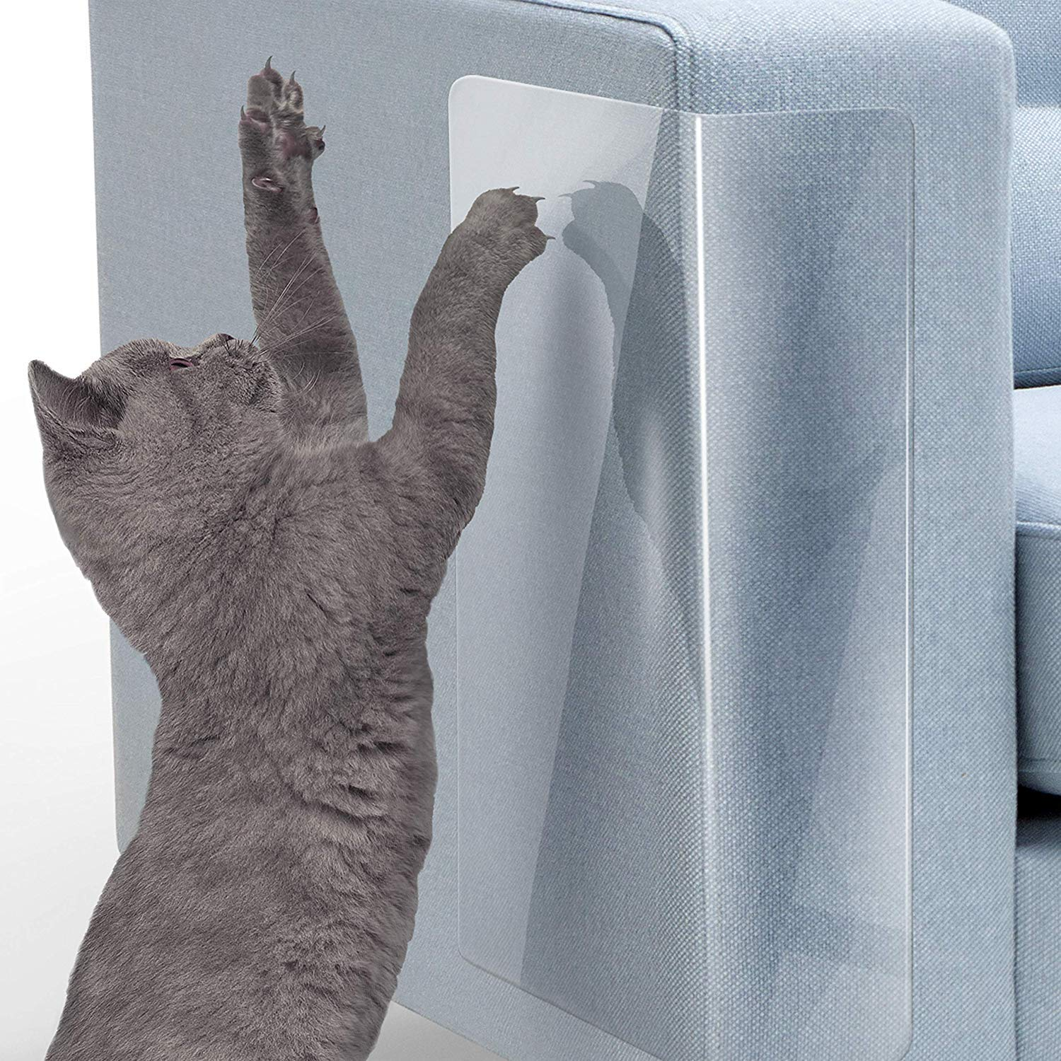 Door 18L x 8W 6 Pack Clear Cat Dog Claw Guards Self-Adhesive Pads,Cat Scratch Furniture Protector Pad Deterrent,Cover to Protect The Upholstery LMLMD Pet Couch Protector Walls,Car Seat