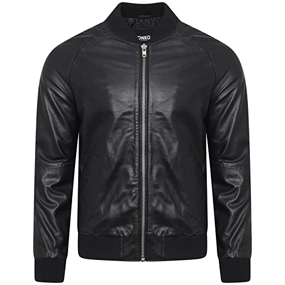 34b88297a Men's Black Real Leather Bomber Jacket with Shirt Collar Sizes S-XL ...