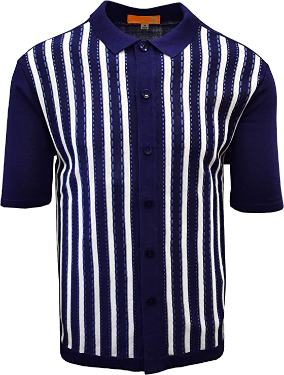 Mens Vintage Shirts – Casual, Dress, T-shirts, Polos SAFIRE SILK INC. Edition-S Men's Short Sleeve Knit Shirt- Vertical Line with Saddle Stitch Accents $49.00 AT vintagedancer.com