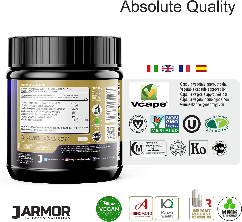 J. ARMOR BCAA 200 cápsulas de 1000 mg de Kyowa Ajinomoto Aminoácidos ramificados Professional 8 1 1 Vegano