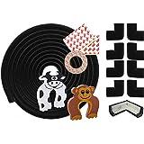Chuckle kit de sécurité domestique - 6 m Bumper pare-chocs bande et 8 coussins antichoc - Protection enfant bébé d'angles, coins de table - Protéger contre blessures autour de la maison - Comprend 2 butées de porte gratuits (Black)