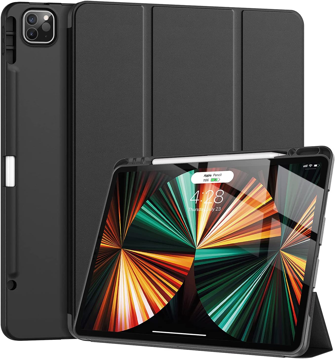 Tuosake iPad Pro 12.9 inch Case 2021 5th Generation with Pencil Holder,Slim Lightweight Trifold Stand Case【Pencil Charging+Auto Sleep/Wake】 Soft TPU Back Cover for New iPad Pro 12.9 2021 -Black