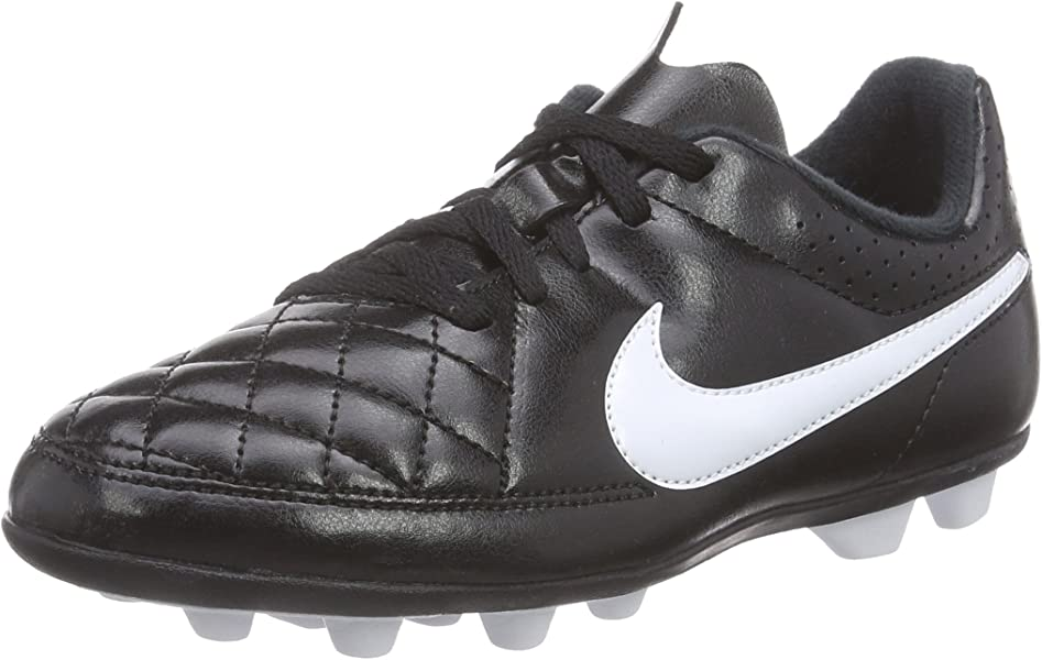 0b19786d136 Nike Kids Jr Tiempo Rio II FG-R Black White Soccer Cleat 1 Kids