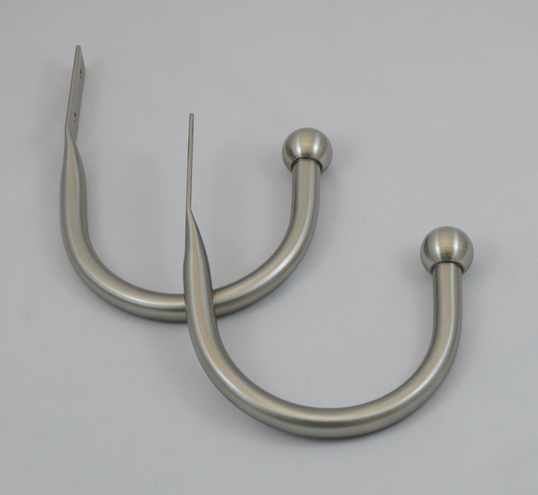 Urbanest Steel Drapery Holdbacks, Set of 2, 5 Colors Available (Brushed Steel)