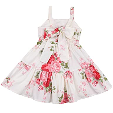 93ede1839 Flofallzique Vintage Girls Dress for 1-10 Years Old Backless Toddlers  Sundress Baby Clothes (