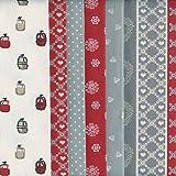 Textiles français Stoffpak - Tessuti (Alpi - rosso) | Confezione di 6 pezze | 100% puro cotone | 35 x 50 cm