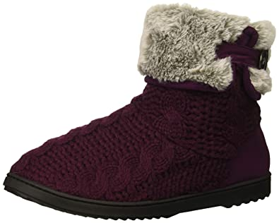 b75e157d1789 Dearfoams Women s Cable Knit Boot Slipper Aubergine M Regular US