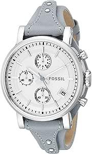 ساعة اصلية بوي فريند رياضية للنساء بمينا بيضاء وبسوار جلدي كرونوغراف - ES3820، من فوسيل