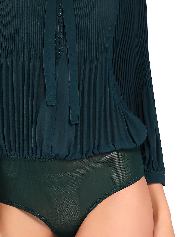DIDK Womens Self Tie Neck Pleated Chiffon Bodysuit Blouse