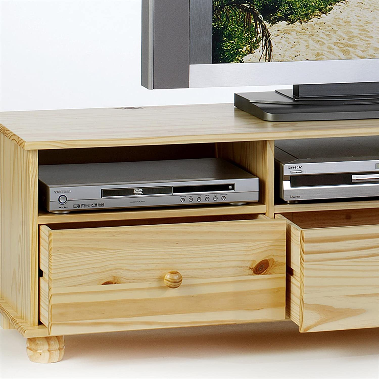 IDIMEX Lowboard TV M/öbel Bern Kiefer massiv Natur lackiert mit 3 Schubladen Fernsehkommode HiFi M/öbel Unterschrank