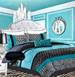 Teen Girls Bedding Damask Leopard Comforter TWIN / TWIN XL Bedspread Black White Teal Aqua Blue Set + Sham + Adorable Throw Pillow + Home Style Brand Sleep Mask Polka Dot Comforters Sets for Girl Kids
